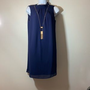 Navy Blue Shift Dress with Accent Jewelry